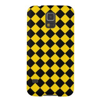 Gold and Black Diagonal Checkerboard Design Galaxy S5 Case