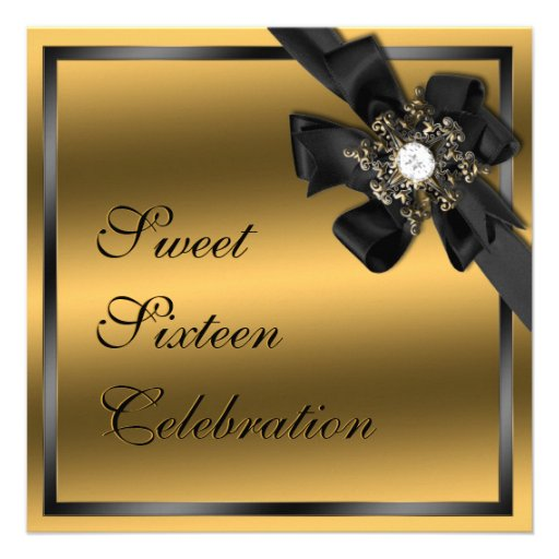 Gold and Black Diamond Bowed Invite