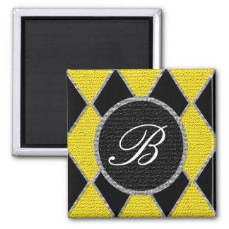 Gold and black diamond monogram sparkle magnet