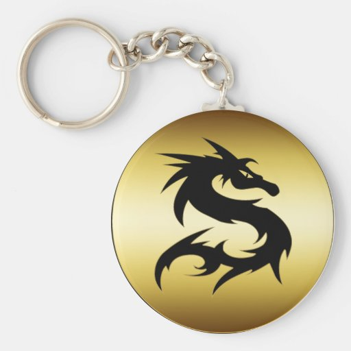 GOLD AND BLACK DRAGON KEYCHAINS