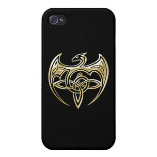 Gold And Black Dragon Trine Celtic Knots Art Case For iPhone 4