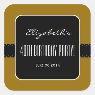 Gold and Black Elegant 40th Birthday Party V02 Square Sticker