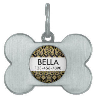 Gold and Black Elegant Damask Pattern Pet ID Tag