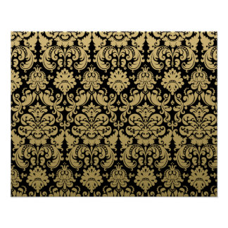 Gold and Black Elegant Damask Pattern Poster