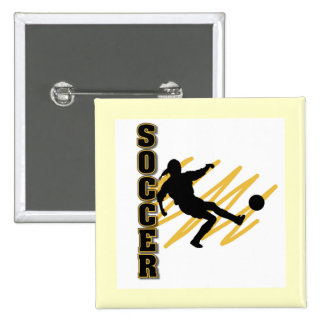 Gold and Black Female Soccer Player Button