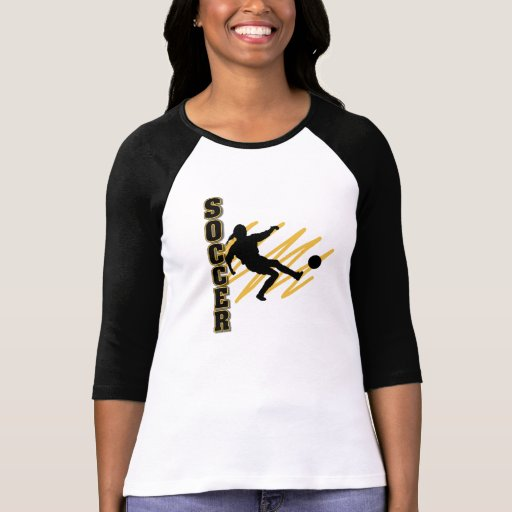 Gold and Black Female Soccer Player T Shirts