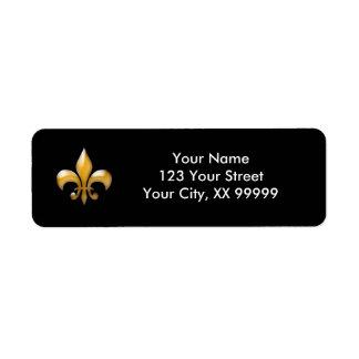 Gold and Black Fleur de Lis Return Address Labels