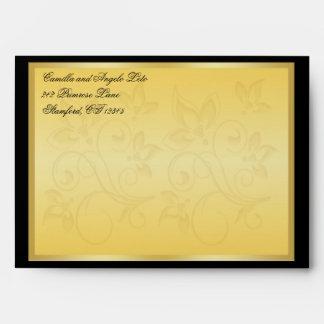 "Gold and Black Floral 5x7"" Envelope"