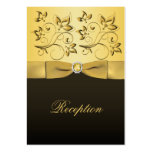 Gold and Black Floral Jewelled  Reception Card Business Cards