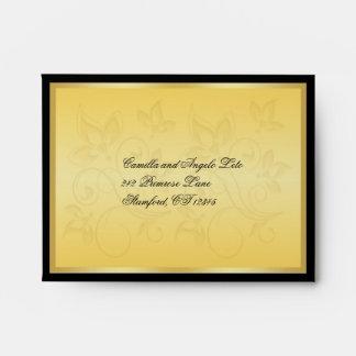 Gold and Black Floral RSVP Envelope
