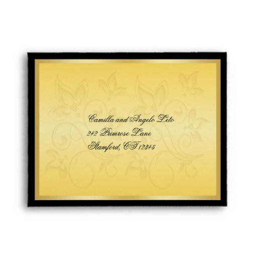 Gold and Black Floral RSVP Envelope