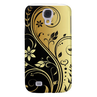 Gold And Black Floral Scroll 3g  Galaxy S4 Cases