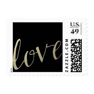 Gold and Black Foil Love Postage