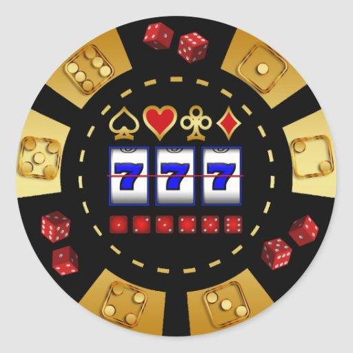GOLD AND BLACK GAMING POKER CHIP CLASSIC ROUND STICKER