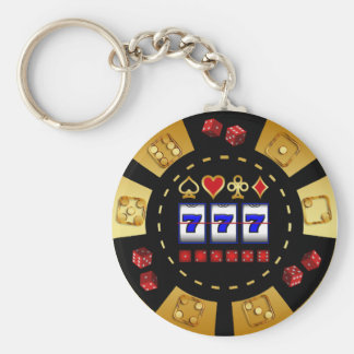 GOLD AND BLACK GAMING POKER CHIP KEYCHAIN