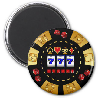 GOLD AND BLACK GAMING POKER CHIP MAGNET