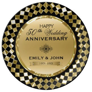Gold And Black Geometric Shapes- 50th Anniversary