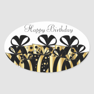 Gold and Black Gift Presents   Customize Oval Sticker