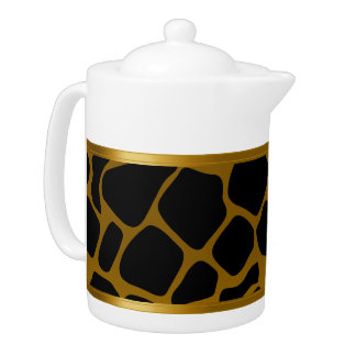 Gold and Black Giraffe Animal Pattern Teapot