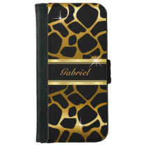 Gold and Black Giraffe Animal Print Wallet Phone Case For iPhone 6/6s