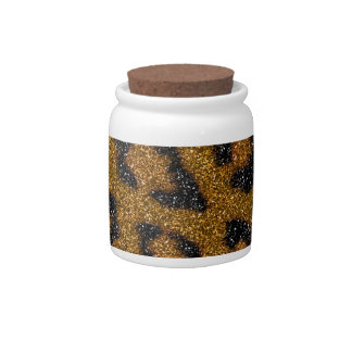 Gold and Black Girly Glitter Cheetah Print Candy Jar