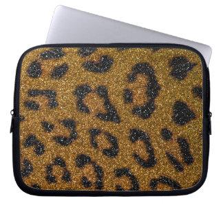 Gold and Black Girly Glitter Cheetah Print Computer Sleeve