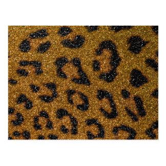 Gold and Black Girly Glitter Cheetah Print Postcard
