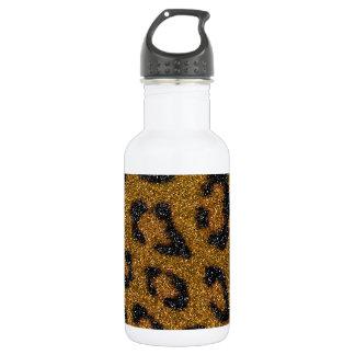 Gold and Black Girly Glitter Cheetah Print Water Bottle