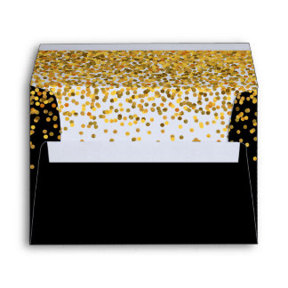 Gold and Black Glam Confetti Dots Envelopes