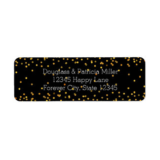 Gold and Black Glam Confetti Dots Return Address Label
