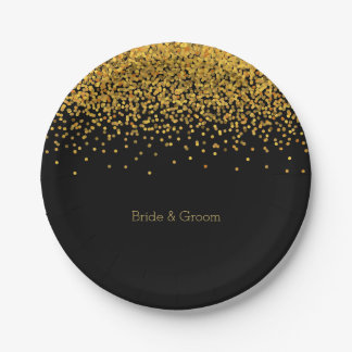 Gold and Black Glam Confetti Dots Paper Plate