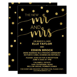 Gold and Black | Glam Elopement Reception Card