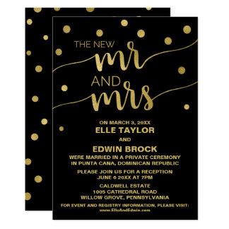 Gold and Black | Glam Elopement Reception Invitation