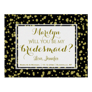 Gold and Black Glam | Will You Be My Bridesmaid? Postcard