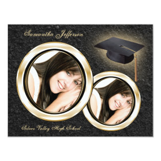 "Gold and Black Graduation Announcement 4.25"" X 5.5"" Invitation Card"