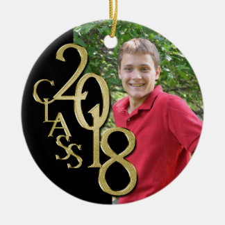Gold and Black Graduation Class of 2018 Photo Ceramic Ornament