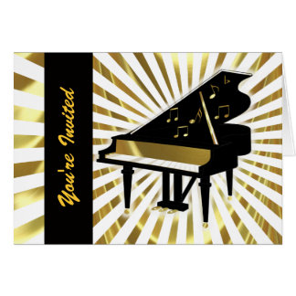 Gold and Black Grand Piano Music Notes