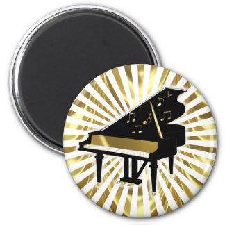 Gold and Black Grand Piano Music Notes 2 Inch Round Magnet