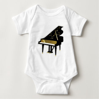 Gold and Black Grand Piano Music Notes Baby Bodysuit