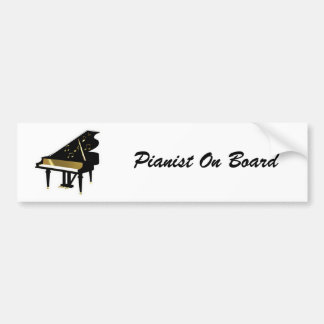 Gold and Black Grand Piano Music Notes Bumper Sticker