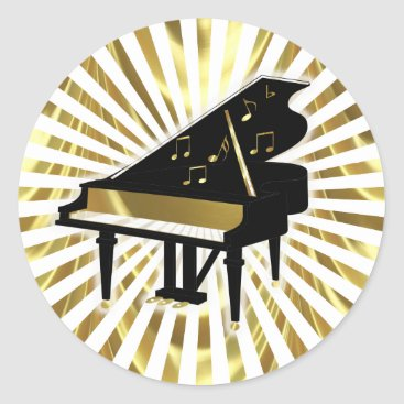 Toddler & Baby themed Gold and Black Grand Piano Music Notes Classic Round Sticker