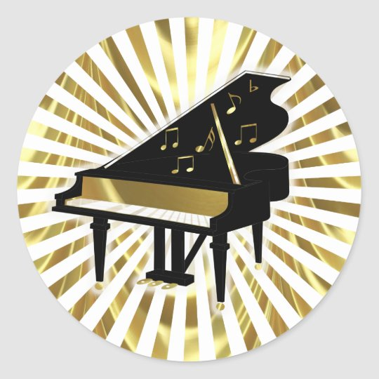 Gold And Black Grand Piano Music Notes Classic Round