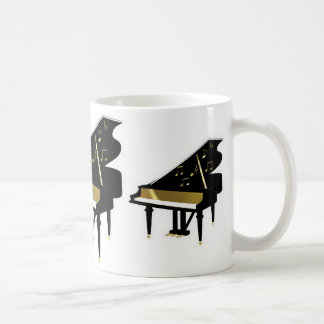 Gold and Black Grand Piano Music Notes Coffee Mug