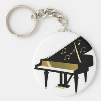 Gold and Black Grand Piano Music Notes Keychain