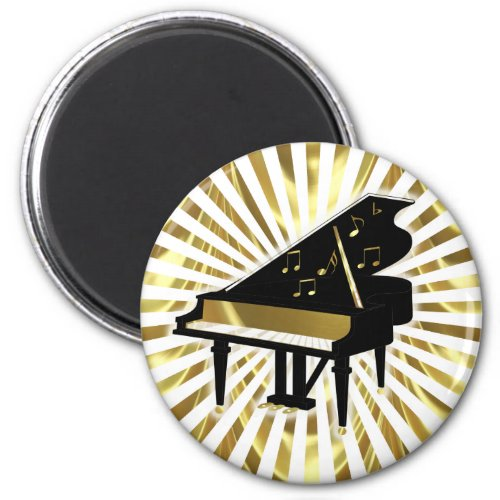 Gold and Black Grand Piano Music Notes Magnet