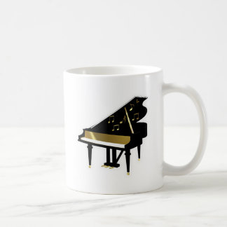 Gold and Black Grand Piano Music Notes Mugs