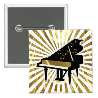 Gold and Black Grand Piano Music Notes Pinback Button