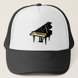Gold and Black Grand Piano Music Notes Trucker Hat