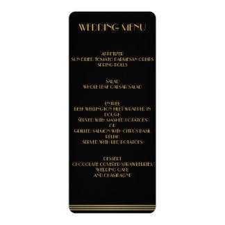 Gold And Black Great Gatsby Wedding Menu Custom Invitations