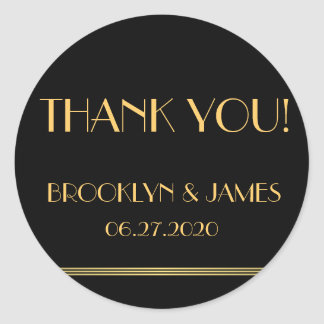 Gold And Black Great Gatsby Wedding Stickers